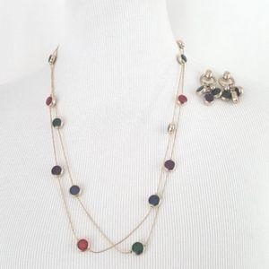 Gold Tone Double Strand Vtg Necklace Earring Set
